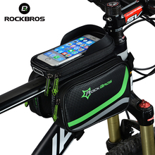 цена на ROCKBROS MTB Front Head Bag Top Tube Double Pouch Bicycle Bag Rainproof Bike Cycling Pannier 5.8 6.2 Inch Touch Screen Accessory