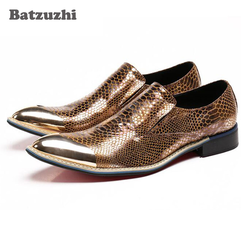 Batzuzhi Men Dress Shoes Gentleman Leather Business Shoes Classic Suit Metal Tip Gold Wedding Party Shoes for Men, Size US6-12