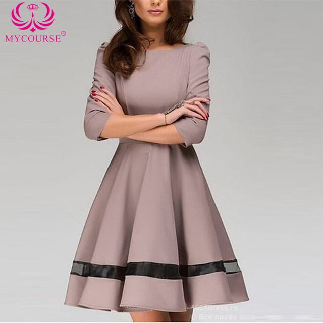 MYCOURSE Trendy Round Collar 3 4 Sleeve Ball Gown Elegant Pure Color Women  Dress Casual Audrey Hepburn Autumn Winter Swing Dress 206e0a4d9