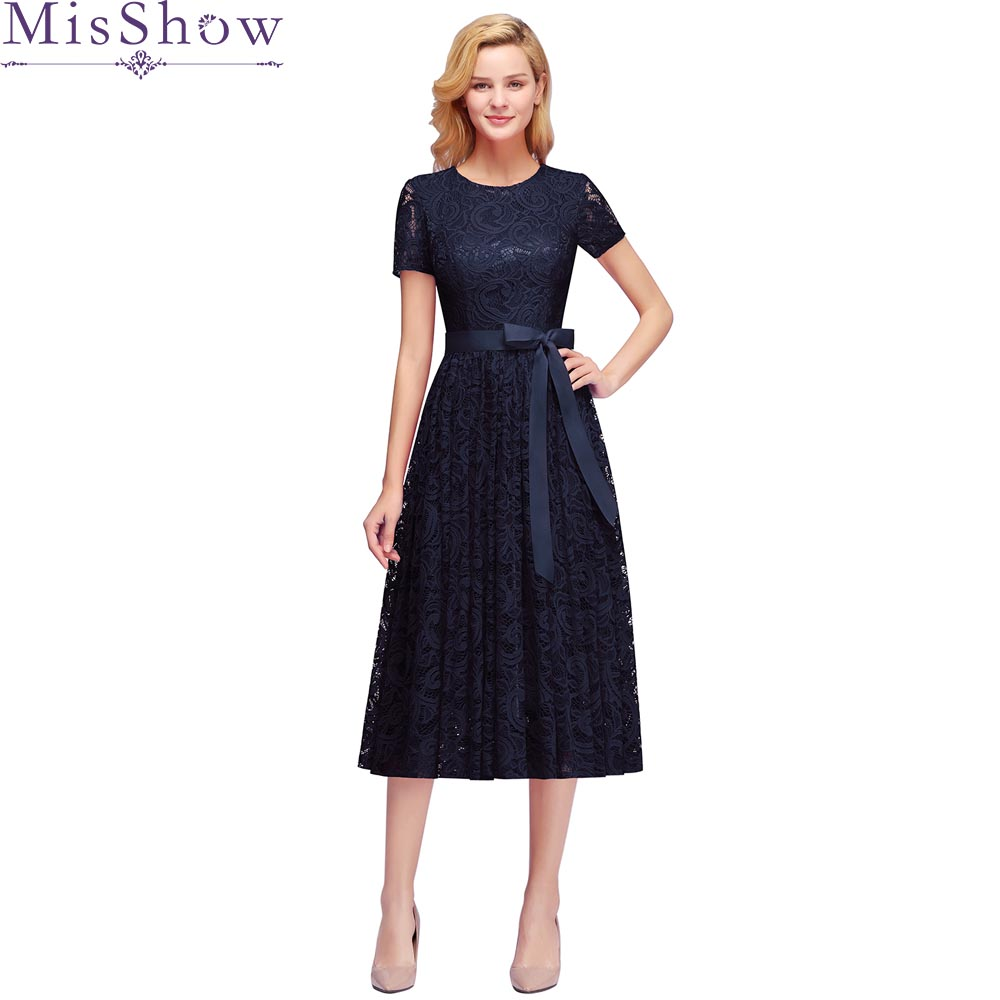 2019 O Neck backless cocktail dress Navy Blue Short Sleeve a line gown cheap women Lace Tea Length cocktail dresses Prom Dress