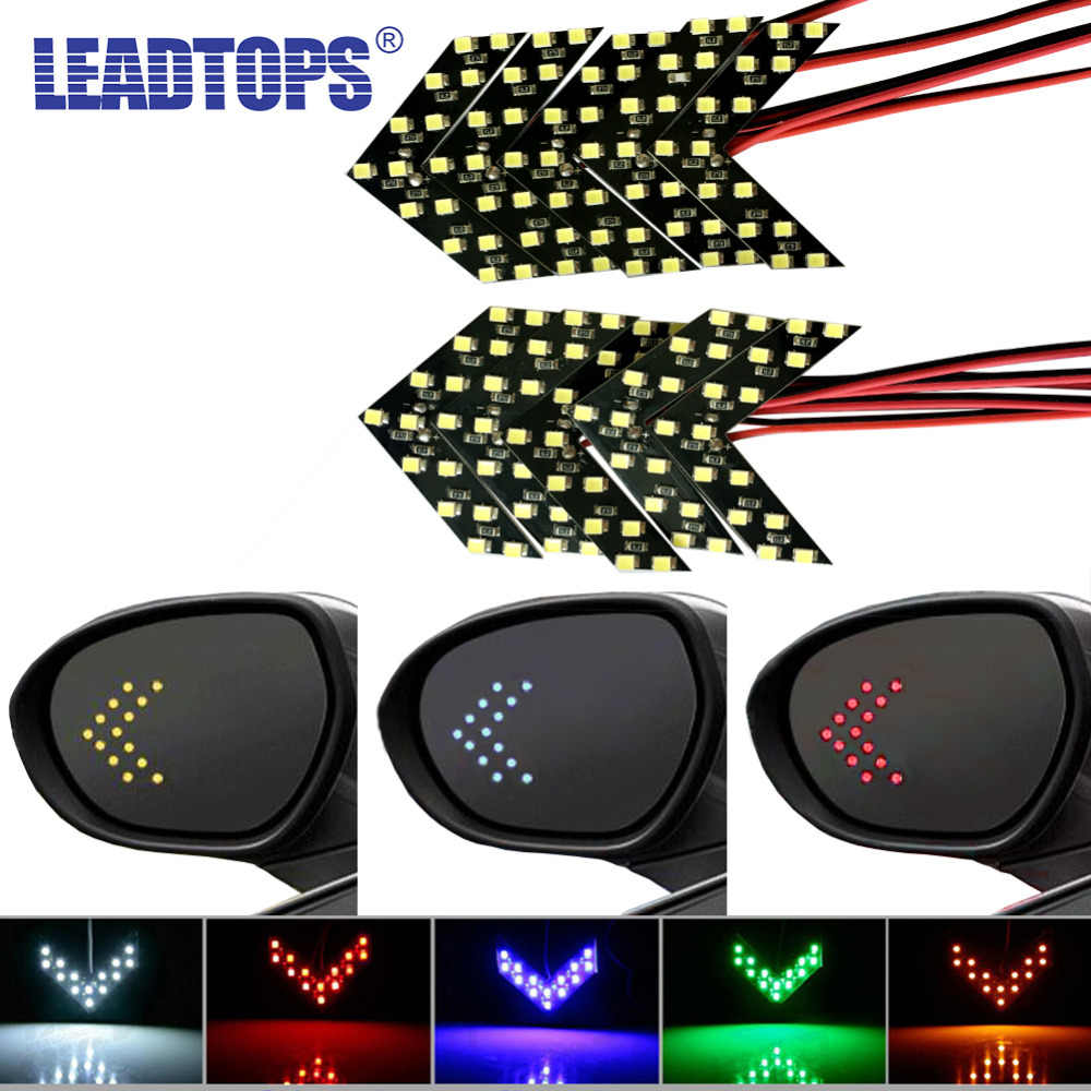 LEADTOPS 10pcs/lot yellow turn signal light arrow light 14 leds  For Car Rear View Mirror Indicator  Blinking CE