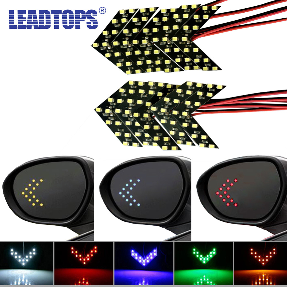 LEADTOPS 10pcs/lot yellow turn signal light arrow light 14 leds For Car Rear View Mirror Indicator Blinking DB