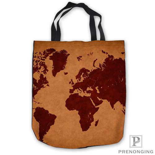 Custom Canvas World Retro Map ToteBags Hand Bags Shopping Bag Casual Beach HandBags Foldable 180713-05-23