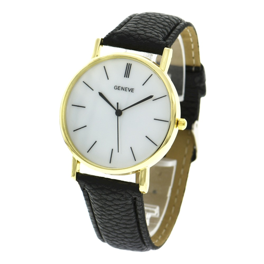 100pcslot new geneve brand leather watch wrap quartz gold case casual watch for unisex wholesale black pointing wristwatch