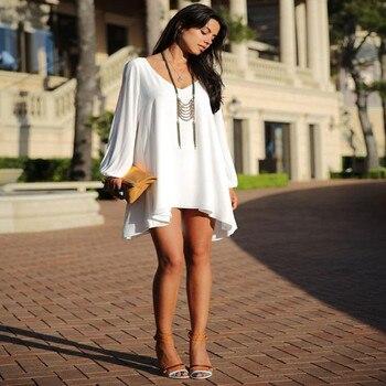 Summer Dress 2018 casual Plus Size Women Clothing Long sleeve solid color Chiffon V Dress Vestidos Beach Dress Loose neck dress 2