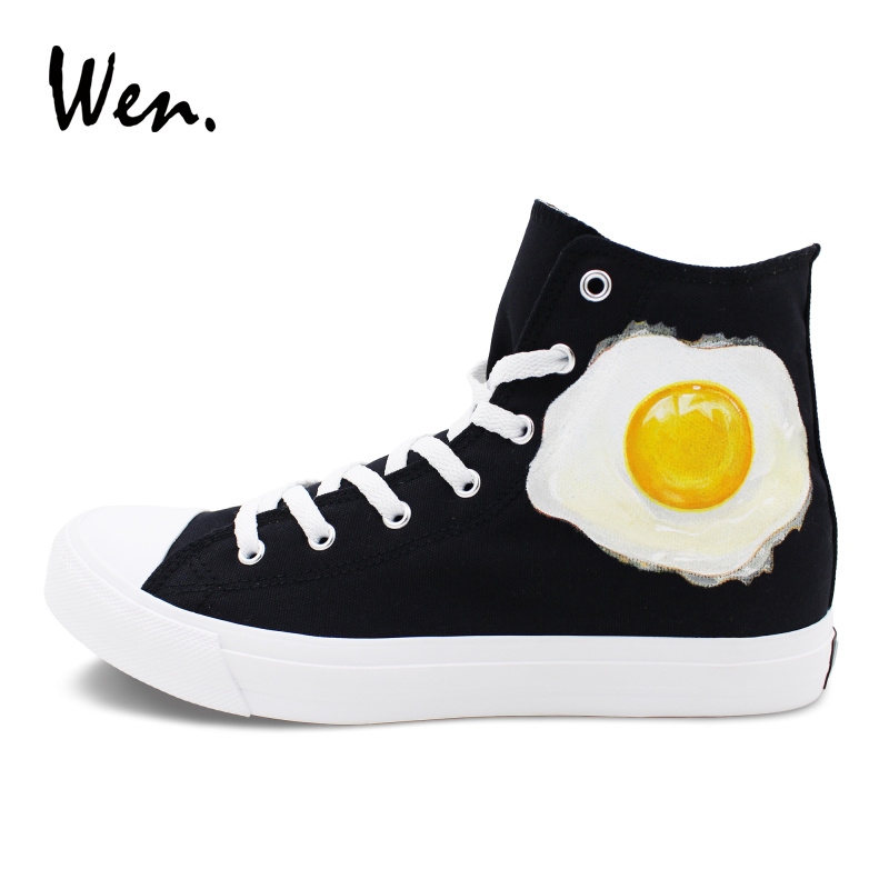 Wen Classic Black Sneakers Canvas Original Design Frying Pan Poached Egg Hand Painted Shoes Men Women Skateboarding Shoes