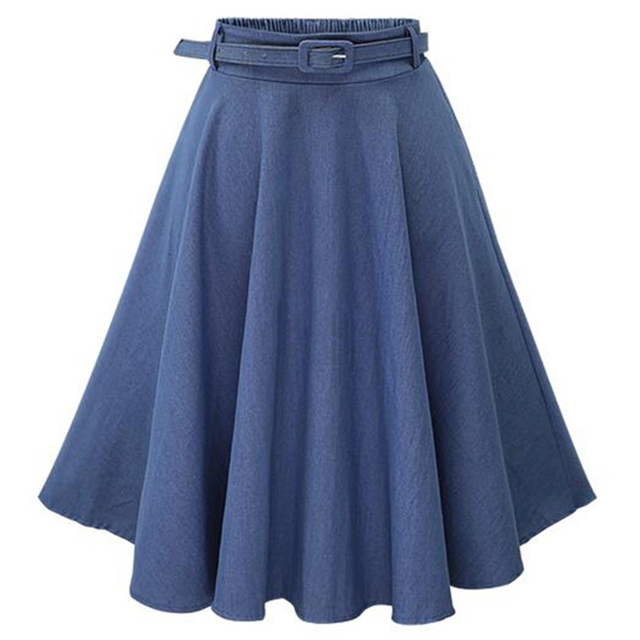 MWSFH Otoño Invierno moda mujer falda Vintage Retro alta cintura Falda Midi  plisada Denim faldas acampanadas c66efb16821d