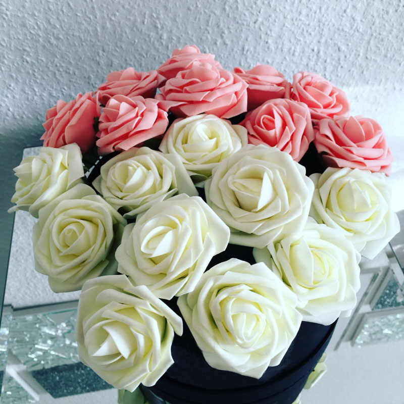 11 Warna 10 Kepala 8 Cm Buatan Rose Bunga Pernikahan Bride Bouquet Busa PE DIY Home Decor Rose Bunga