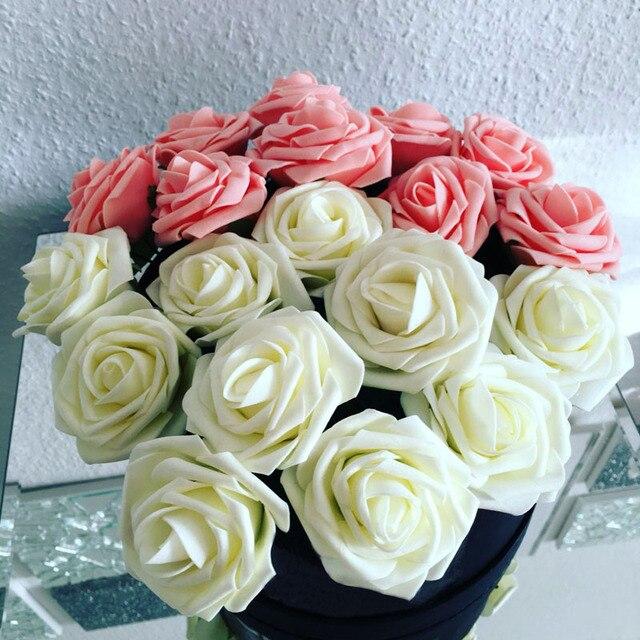 11 Kolory 10 Głowice 8 CM Sztuczne Rose Kwiaty Ślub Panny Młodej bukiet PE Pianka DIY Home Decor Rose Kwiaty VB364 P12 0.5