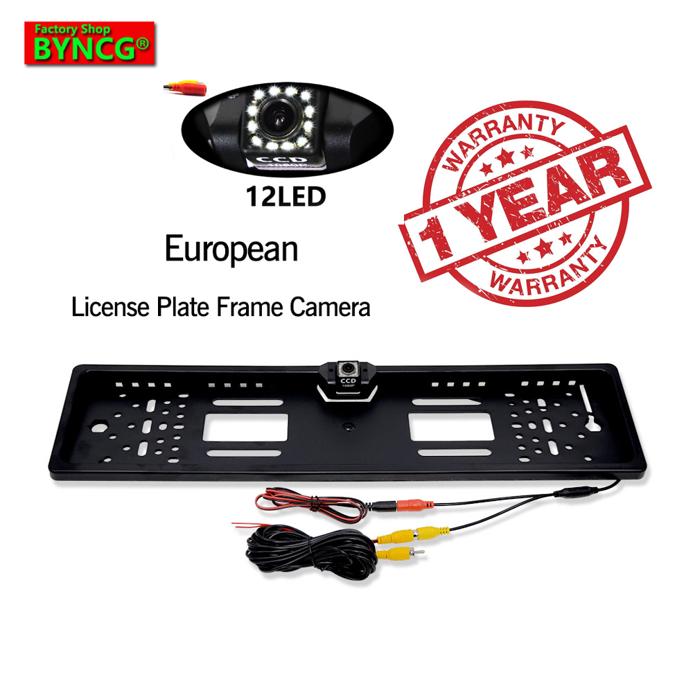 BYNCG 12LEDs 2019 New Arrival 170 European Car License Plate Frame Auto Reverse Rear View Backup Camera 12 LEDs Universal CCD
