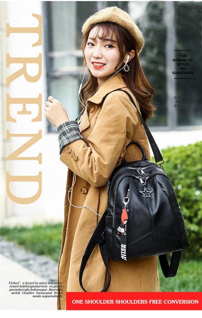 HTB1MkzeaF67gK0jSZPfq6yhhFXaw Minimalism Female Backpack Pu Leather Youth Women Bagpack Beautiful Fashion Girl Casual Rucksacks Lady Shoulder Bag 2019 New