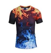 New Bi-color Flame T-shirt 3D Printing Men's T-shirt Hop Short Sleeve Fashion Clothing