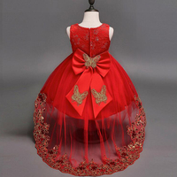 Fashion Red White Pink Lace Tulle Short Front Long Back Children Dress Wedding Big Sequin Bow