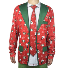 Funny Ugly Christmas T Shirt for Men Cute Fake Tuxedo Suit Blazer Print Christmas T Shirts Xmas Vacation Party Tee Plus Size