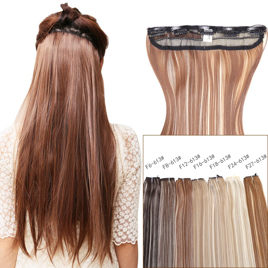 Neitsi 20'' 50cm Straight Clip In One Piece Synthetic Natural Hair Pieces 5 Clips