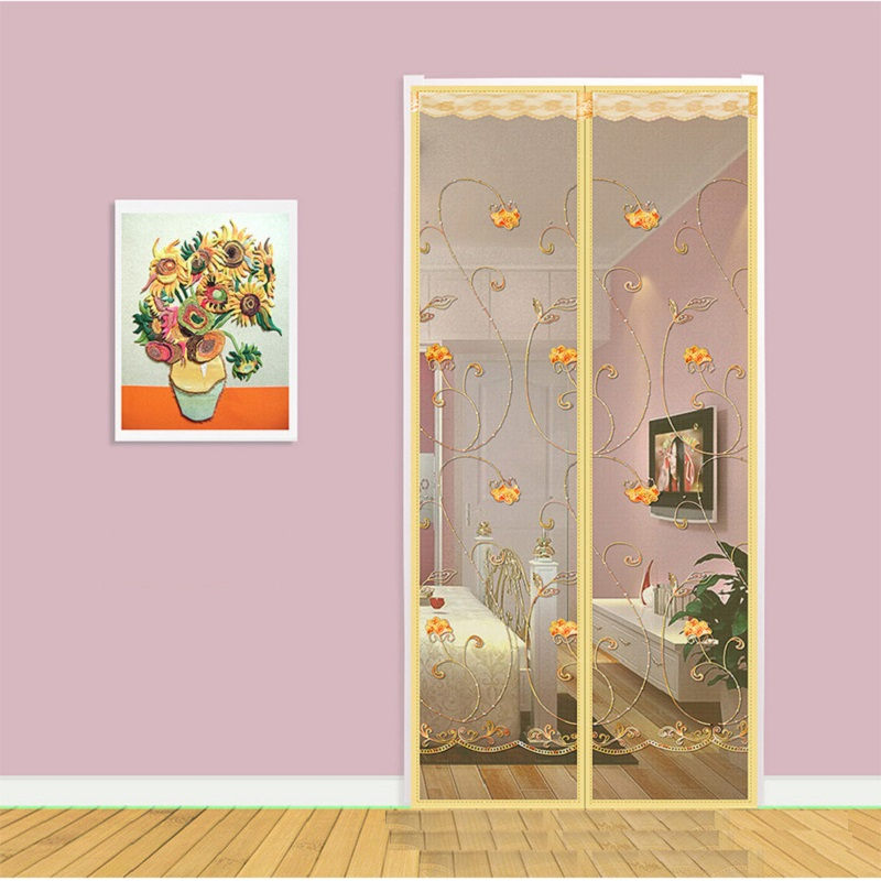 Summer Mosquito Magnetic Soft Window Screen Door Curtain Embroidery Magic Mesh Fly Bug Anti-mosquito Curtain Hands-Free