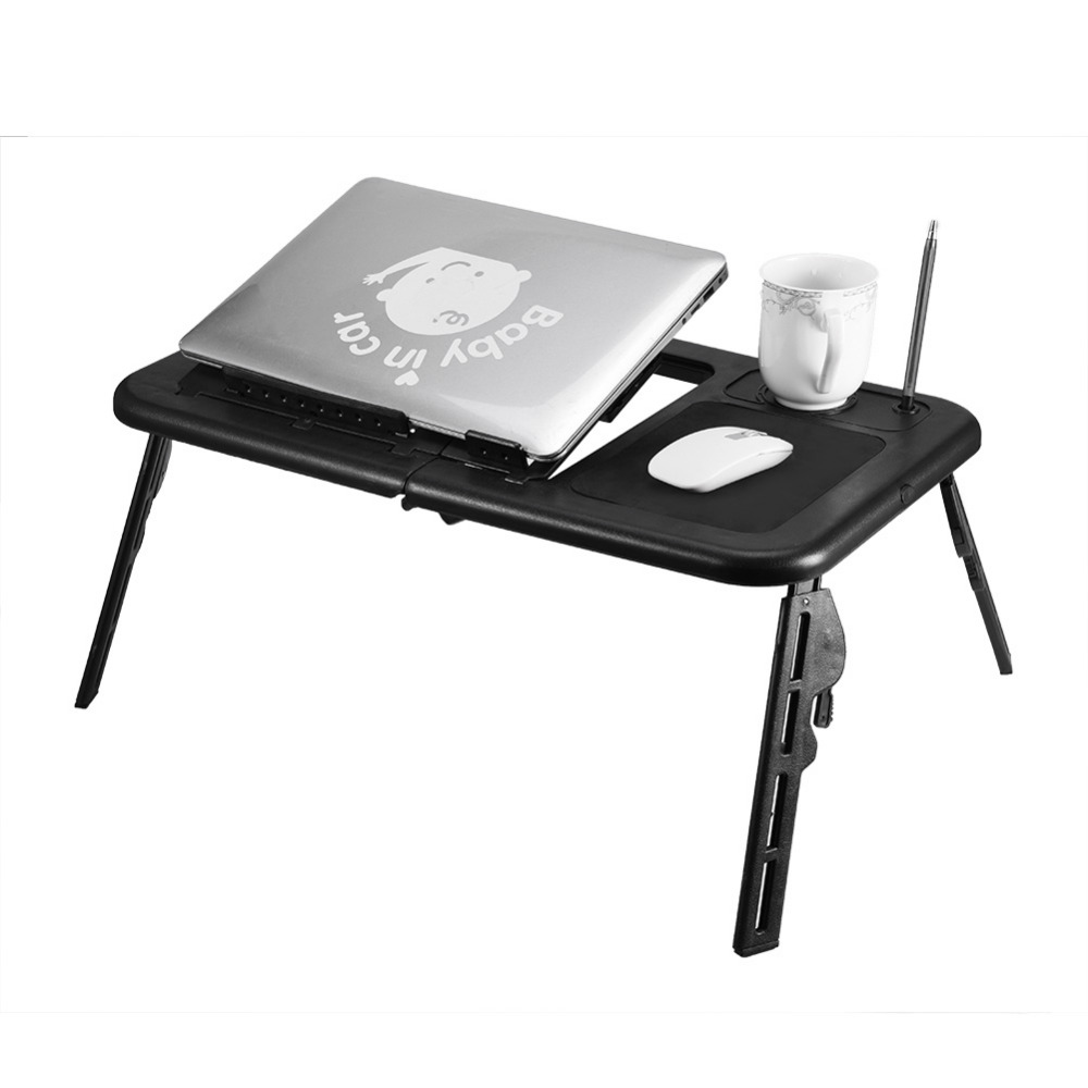 Adjustable Folding Table Laptop Table Stand Lap Tray Notebook Desk With USB Cooling Fans Stand Tray