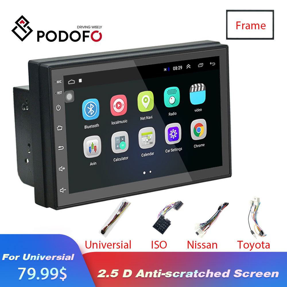 Podofo Android 8 1 2 Din Car radio Multimedia Video DVD Player Universal auto Stereo GPS