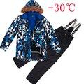 Adolescente roupa das crianças define ternos de esqui de inverno 2016 meninos jaquetas de esqui + calça crianças conjunto do miúdo de esqui de neve ao ar livre roupas de inverno