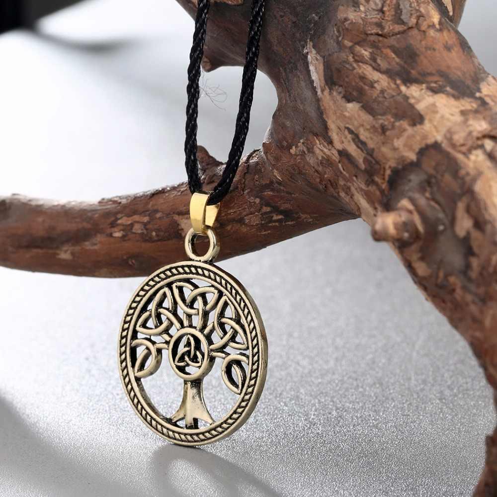Cxwind Fashion Knot naszyjniki drzewo genealogiczne życia okrągły urok węzeł naszyjnik biżuteria dla kobiet prezent dla mężczyzny akcesoria retro
