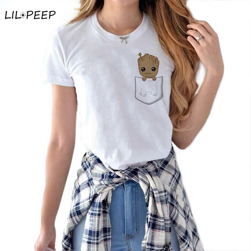 Groot Baby Women Cool Cute T Shirt  Cotton White Summer Marvel Tops Superhero Streetwear Aesthetic Harajuku Camiseta Mujer