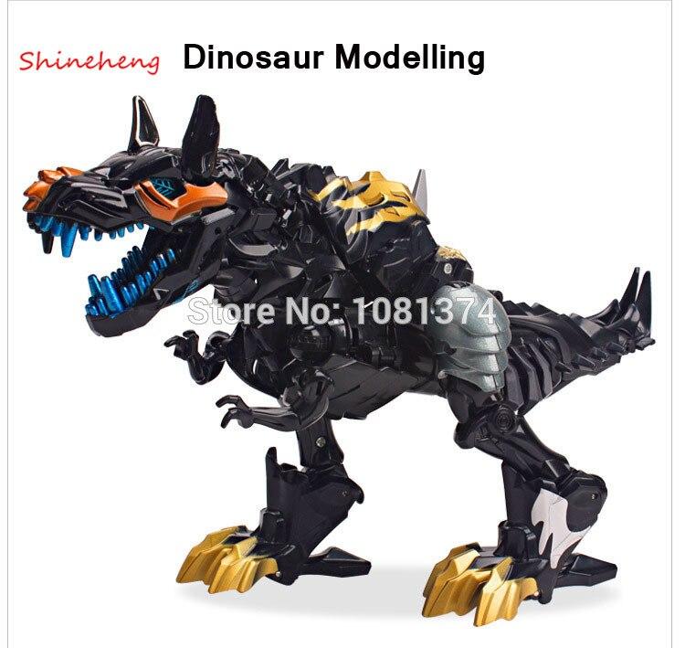 SHINEHENG Hot Sale Deformation Movie 4 Grimlock Robot Dinosaur Model Black ABS Action Figure Toy Gift for Boys Free Shipping