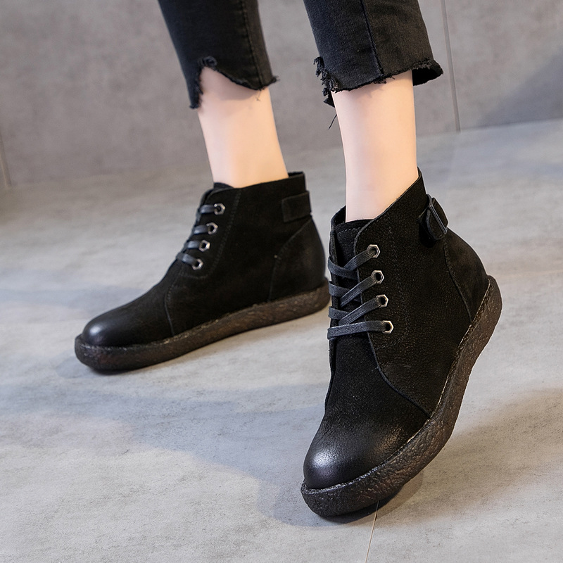 Women Soft Leather Ankle Boots Black Low Heels Winter Shoes 2018 Lace Up Genuine Leather Women Martin Boots Soft Bottom Casual цена
