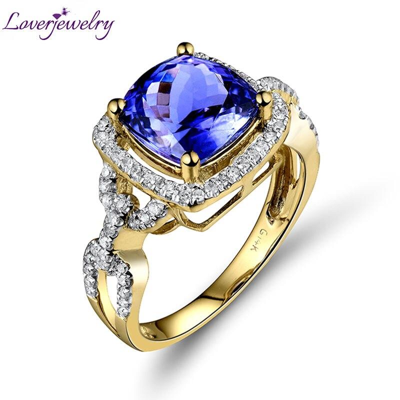 Vintage 14kt Or Jaune Diamant Tanzanite Weddding Femmes Anneau de Coussin Cut Gemstone Bijoux G090458