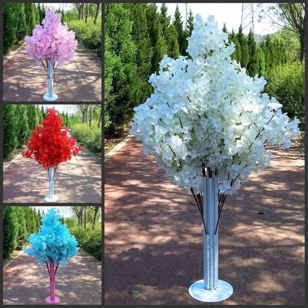 Nueva llegada flores de cerezo árbol camino lleva boda camino pasillo columna centros de compras abierto puerta decoración Stands