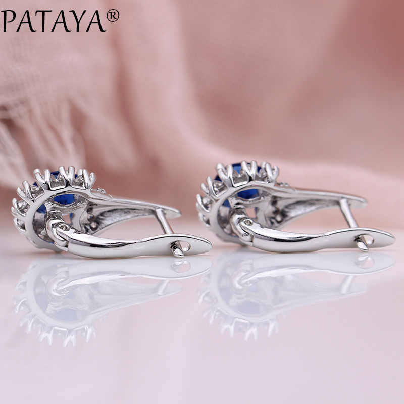 PATAYA חדש כהה כחול עגילי מסיבת חתונה לבן זהב נשים בסדר פרח תכשיטים עגול טבעי זירקון להתנדנד עגילים