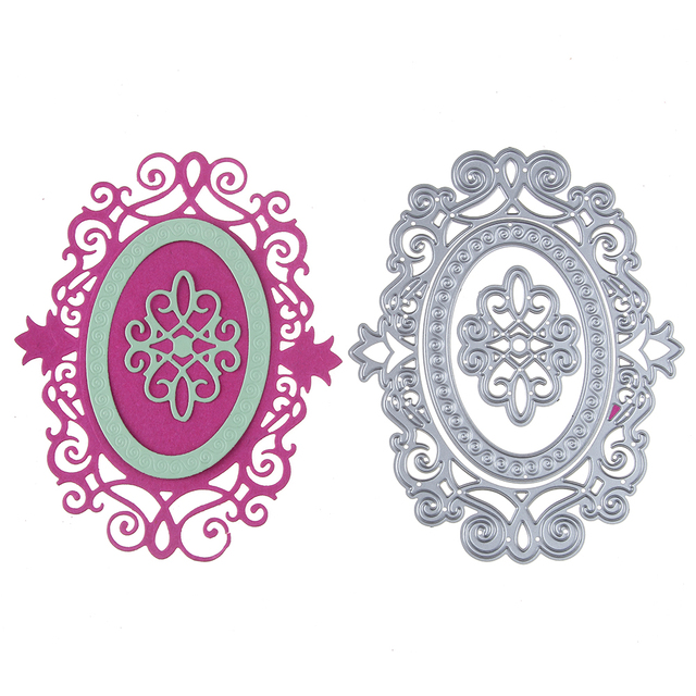 New DIY Double Oval Lace Frame Metal Cutting Dies Embossing Stencil ...