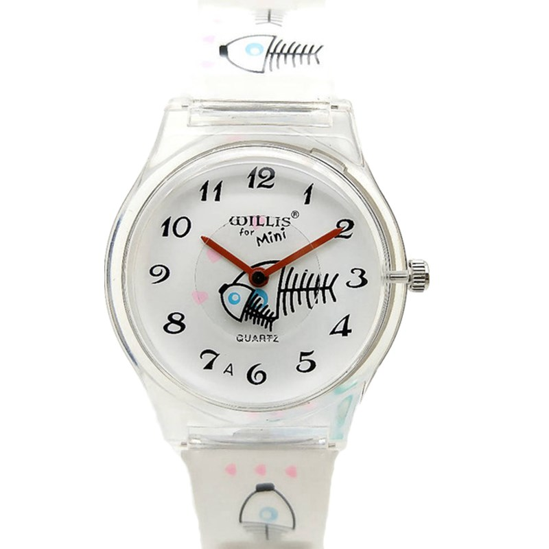 6c274ed6d94b21 WILLIS for Mini Woman Fashion Water Resistant Watch child students Cartoon  fish bones Watch Women Leisure Wristwatch PENGNATATE