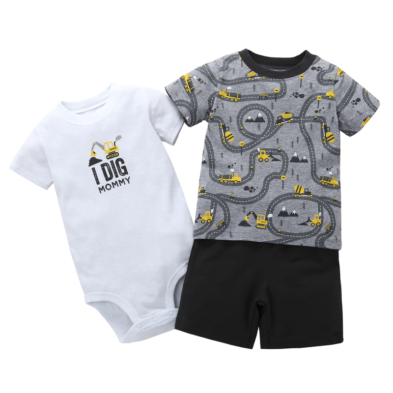 summer boy clothes newborn baby set letter T shirt tops bodysuit shorts costume infant clothing new