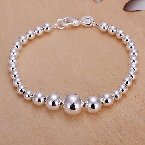 H165 925 ingyenes szállítás ezüst karkötő, 925 ingyenes szállítás ezüst divat ékszerek Nagy és kis gyöngy karkötő / axwajpda aukajlra