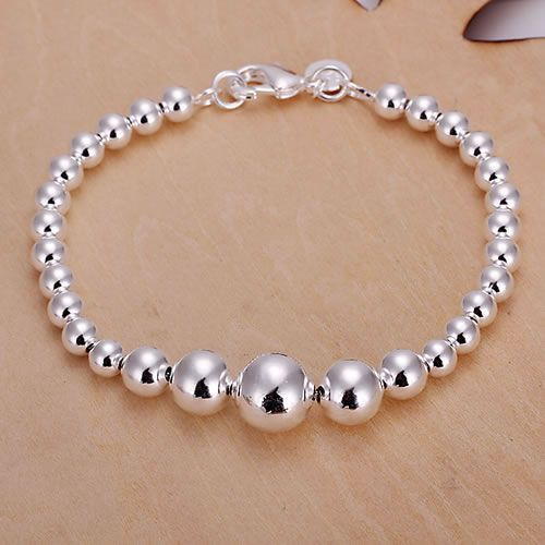 H165 925 free shipping silver bracelet, 925 free shipping silver fashion jewelry Big and Small Beads Bracelet /axwajpda aukajlra