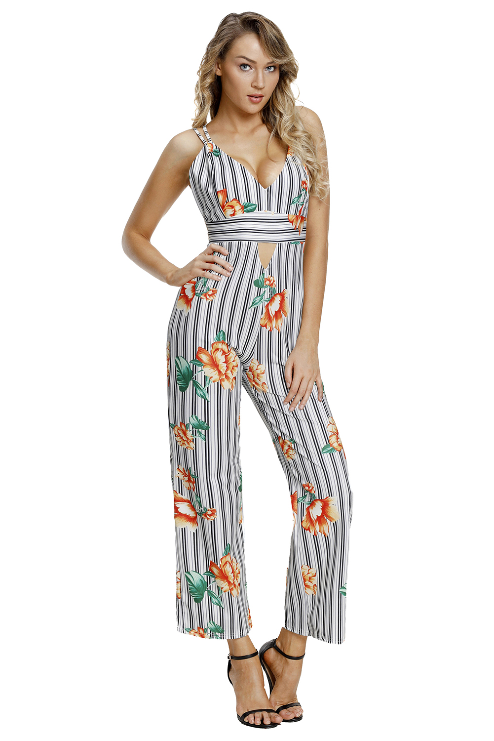 2018 Summer Elegant Ladies Temperament Pants Print Hammock Sleeveless Black White Stripes Floral Jumpsuits & Rompers