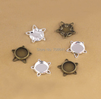 Blank Bezel Bases w/ 10mm Inner Round Bezel Cabochons Wired Star Pendant Earrings Settings Crafts DIY Findings Accessories