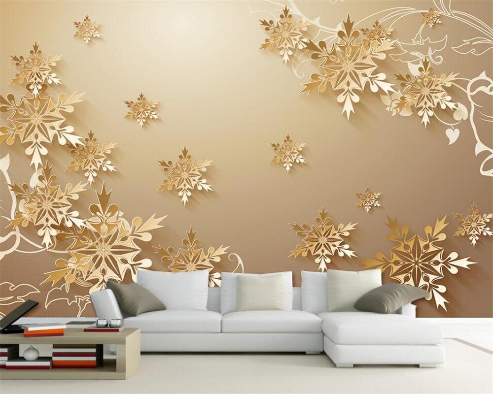 Fiocchi Di Neve Di Carta 3d : Beibehang carta da parati per pareti 3 d 3d tagliare la carta oro