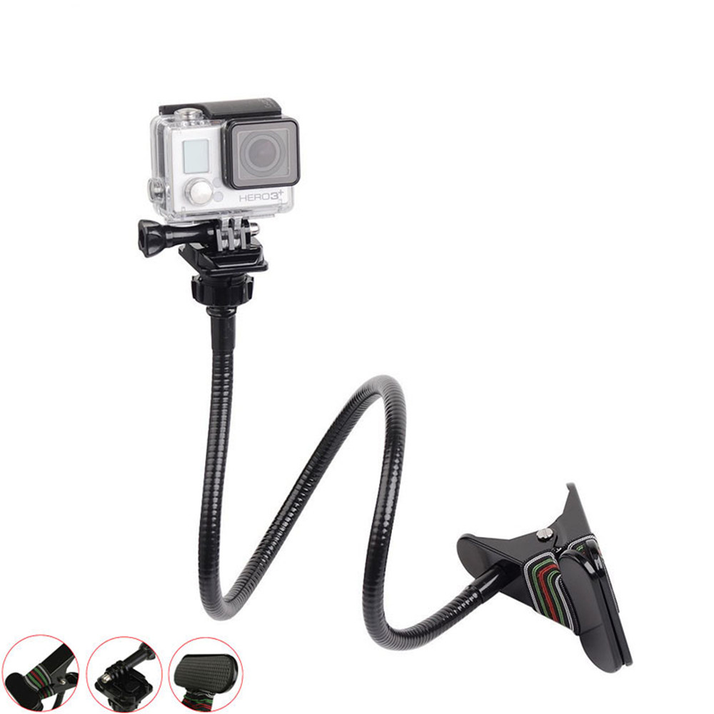 Adjustable Clamp Mount Gooseneck Extension Flexible Jaw Clip Mount Bracket for Gopro Hero 5 4 3 3 Session SJCAM Xiaoyi Yi 4K in Tripods from Consumer Electronics