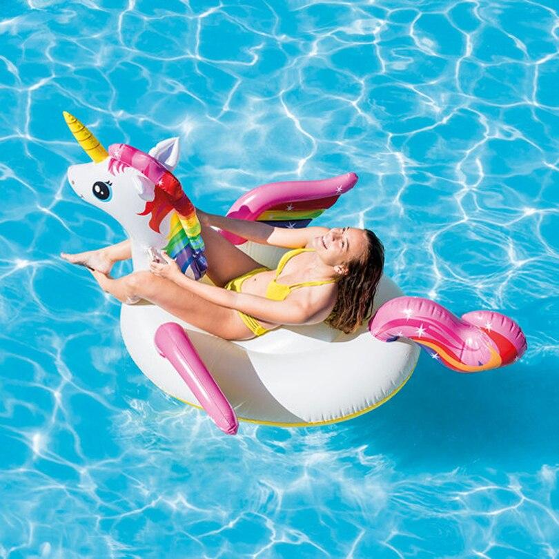 Egoes  57561 Inflatable Kid & Adult Swimming Pool Ride-On Colorful Unicorn Float