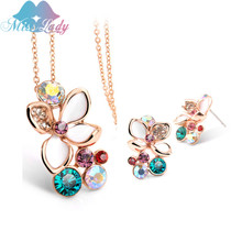 Miss Lady Statement Necklace Earring  Nigerian Wedding African Beads Costume Jewelry Sets Crystal for women MLY5043-2