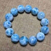 KUIJIA Естественный Лед Larimar браслеты Медь пектолит размер 15 мм Для мужчин Для женщин ювелирных изделий босс подарок весит 73,08 г