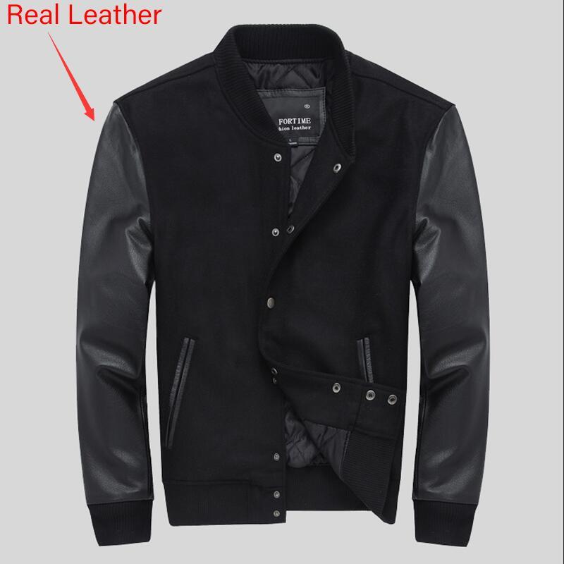Стеганая университетская куртка для мужчин с кожаными рукавами, шерстяная бейсбольная куртка черного цвета