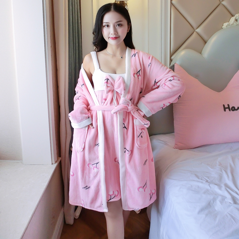 2PCS Sexy Thick Warm Flannel Robes Sets for Women 2018 Winter Coral Velvet Lingerie Night Dress Bathrobe Two Piece Set Nightgown 238