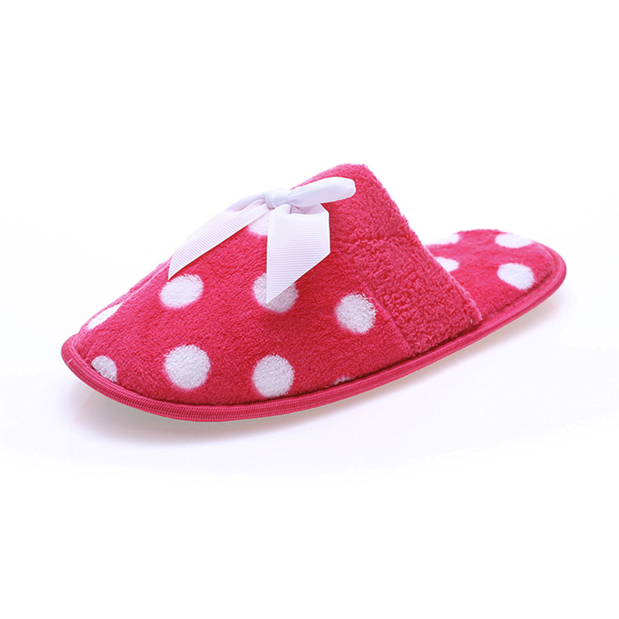 все цены на Women Winter Polka Dot Indoor Warm Slippers Bowknot Anti-Slip Soft Shoes High Quality Cotton Fabric Butterfly-knot Slippers S