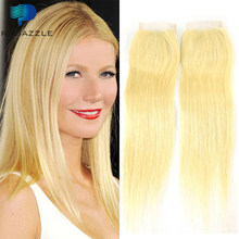 Blonde 4×4 Straight Lace Closure One Piece Free Shipping Brazilian Virgin Hair Straight With Closure Brazillian Straight Hair