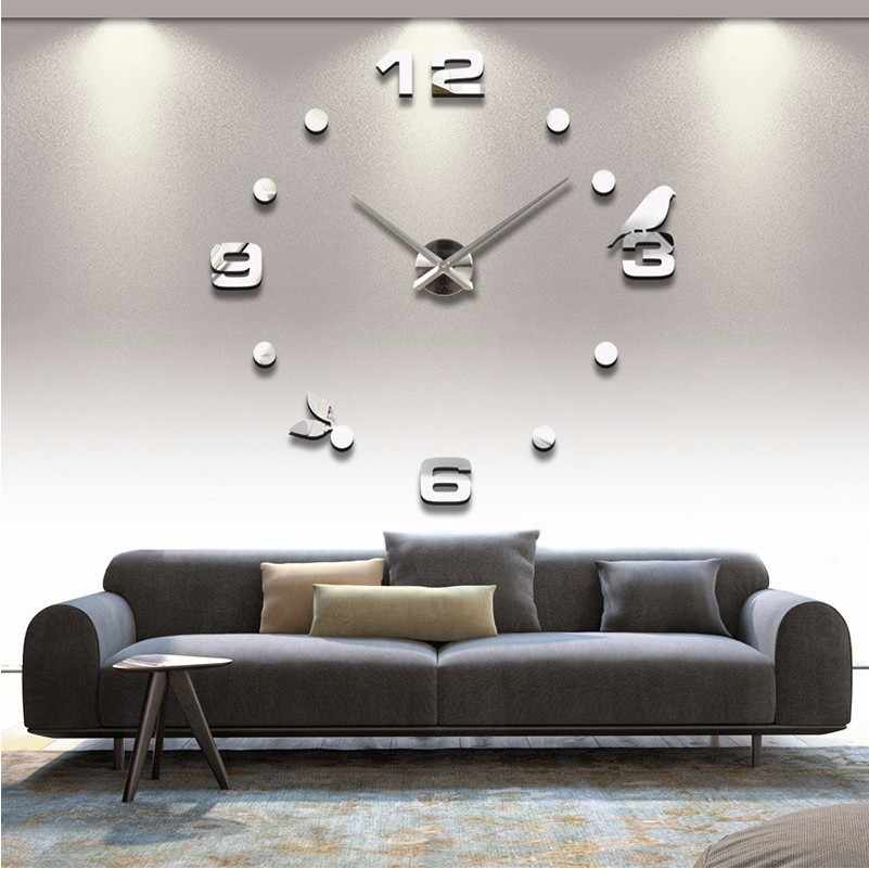 2019  new Black Cat bird Quartz Wall Clocks Home Decor Orologio muro  Factory 2018 New Modern DIY Livingroom Creative Watch Wall