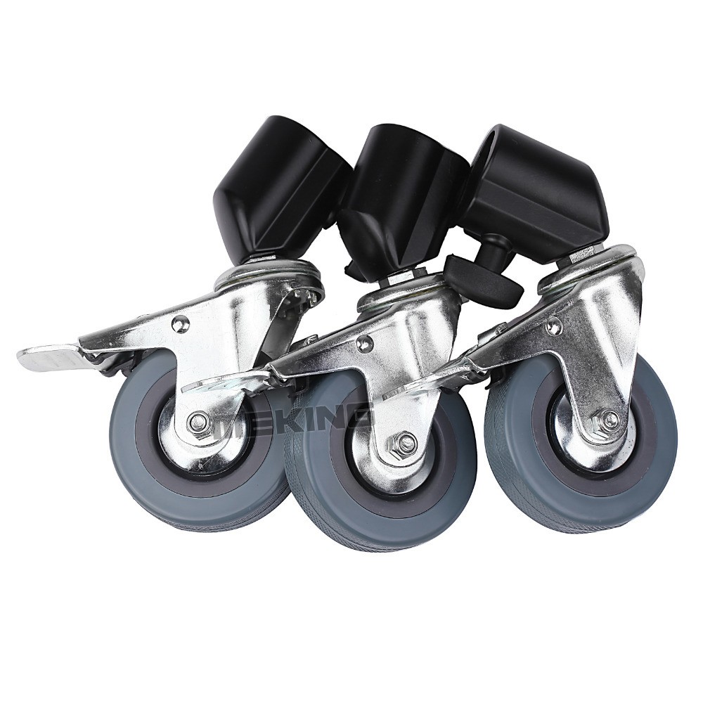 New 3 pieces Heavy Duty Universal Caster Wheels For Light Stands Boom stand support accessory 3in1 kit  цены