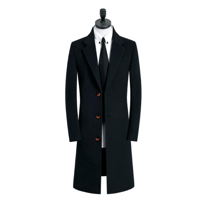 Classic casual woolen coat men trench coats long sleeves overcoat mens cashmere coat casaco masculino england khaki black 9XL