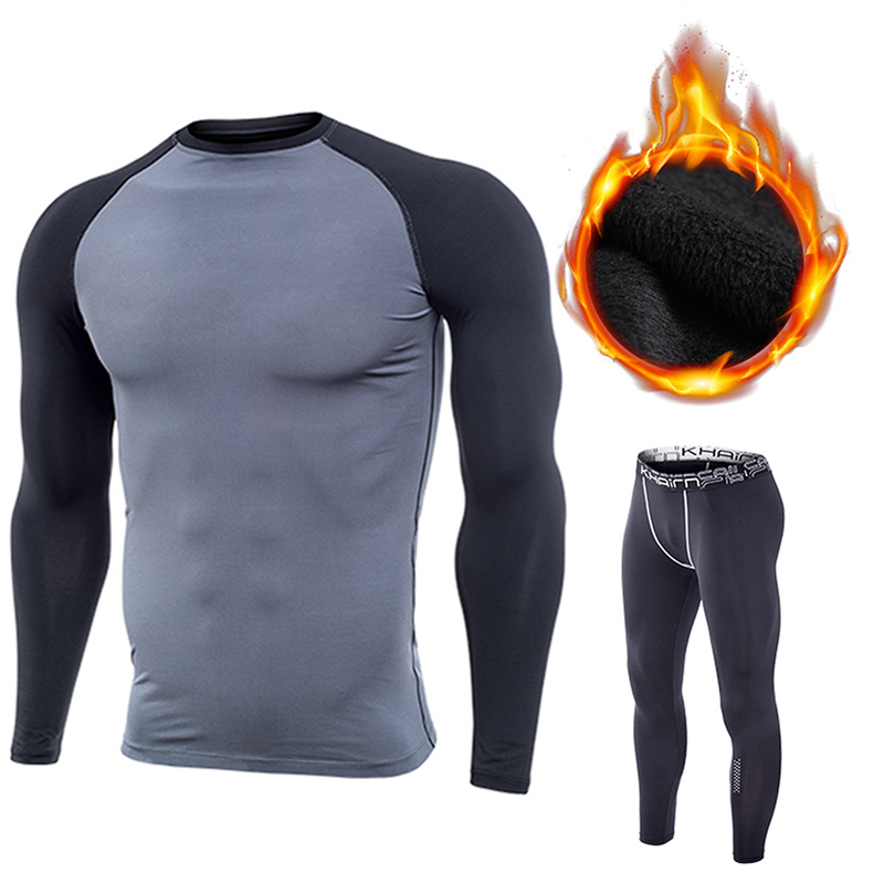 Mens Sports Suit Quick Drying Shirt Pants Gym Compression Wear Workout Running